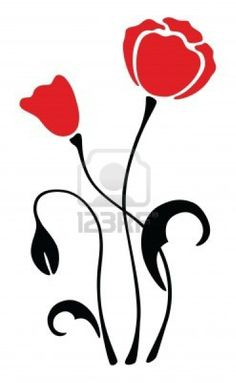 Illustration of red poppy flower silhouette, pattern, vector illustration vector art, clipart and stock vectors. Art Floral, Silhouette Clip Art, Record Art, California Poppy, Vector Flowers, Stencil Patterns, Red Poppies, African Art, Clipart