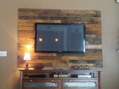 pallet boards behind television