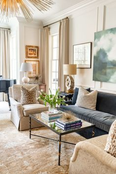 Family Home Interior Transitional Living Room Style - J Cathell Living Room Interior, Home Living Room, Living Room Designs, Fresh Living Room, Living Room Decor Curtains, Living Room Styles, Beautiful Living Rooms, Cozy Living, Decor Inspiration