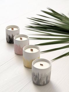 Bougie Naturelle : Natural soy candle black hand painted organic soy wax candles in cement vase beton concrete essential oils handpoured vegan Paraffin Candles, Soy Wax Candles, Candle Wax, Scented Candles, Concrete Candle Holders, Vegan Candles, Candle Molds, Bougie Bio, Bougie Candle
