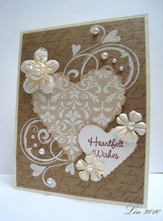 monochromatic card by quilterlin...lovely neutrals...especially like the placement of the pearls...
