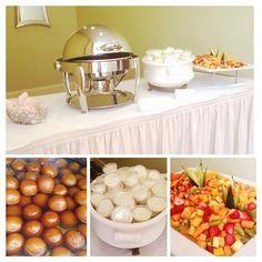 Dessert Table Set-Up for Wedding Catering. Gulab Jamun, Kulfi, Fresh Fruits. Indian Catering