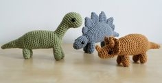 teeny crochet dinosaurs from Planet June Craft blog http://www.planetjune.com/blog/dinosaur-crochet-patterns-are-here/