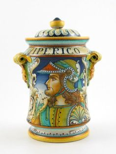 Warrior with Long Hair | Large Handpainted Istoriato Jar by Alvaro Binaglia | Deruta, Italy