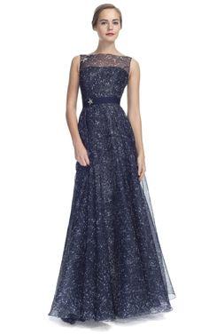 Carolina Herrera Constellation Organza Sleeveless Gown