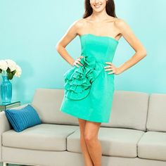 Green Strapless Dress. Size 8