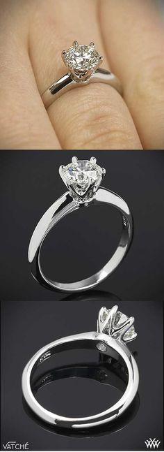 """Three views of a classic """"Tiffany"""" style Six Prong Diamond Solitaire Engagement Ring by Vatche. A Repin of our pin by favorite follower Tina Turk."""