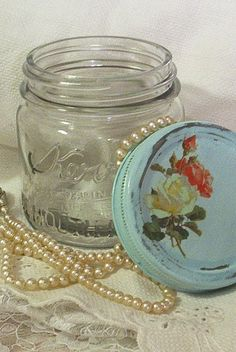 shabby chic vintage cottage aqua jar