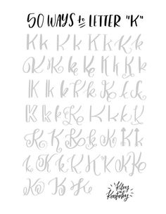 "50 Ways to Letter ""K"" - hand lettering Hand Lettering Alphabet, Doodle Lettering, Creative Lettering, Lettering Styles, Brush Lettering, Letter K Font, Letter K Tattoo, Abc Alphabet, Lettering Ideas"