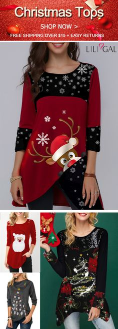 Shop Womens Fashion Tops, Blouses, T Shirts, Knitwear Online Holiday Outfits Women, Cute Christmas Outfits, Christmas Tops, Christmas Shirts, Ugly Christmas Sweater, Cute Outfits, Christmas Ideas, Xmas, Womens Trendy Tops