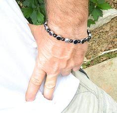 Mens black bracelet Mens jewelry by JewelrybyDecember67 on Etsy, $28.00