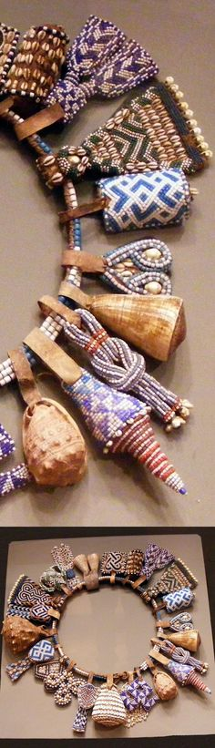 Details from a belt from the Kuba people of DR Congo. Glass beads, shells, leather, natural fiber.
