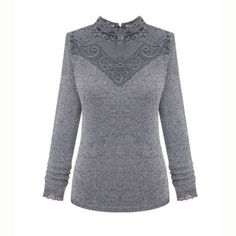 Elegant Pullover Lace Decorate Long Sleeve Ladies Sweaters
