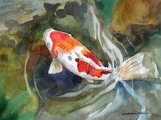 Koi original acrylic painting auspicious koi pond series for Carpa koi butterfly