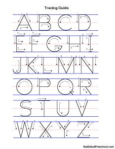 Worksheet Trace Uppercase Alphabet writing trace over highlighted words related to family norma leal manuscript uppercase and lowercase tracing guide nuttin but preschool