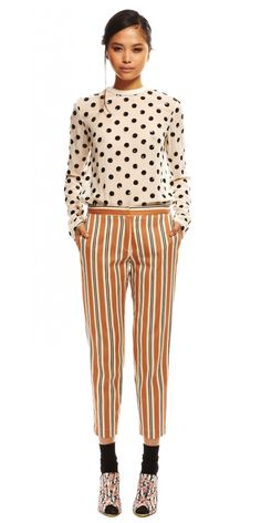 Suno // tailored trouser // stripes and spots Clown Suit, Clown Pants, Fall Fashion Trends, Autumn Fashion, Fall Outfits, Fashion Outfits, Womens Fashion, Fashion Seasons, Fall Wardrobe