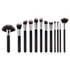 Makeup Brush Professional Big Powder Blusher Flat Contour Lip Large Fan Liquid Foundation Brushes Set for Face Cheek Health Tattoo, Liquid Foundation Brush, Large Fan, Makeup Brush Set, Lip Makeup, Semi Permanent Tattoo, Wooden Handles, Brown And Grey, Contour