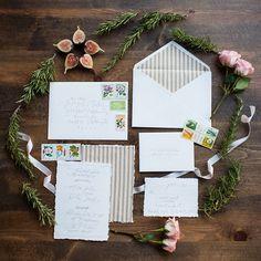 White and cream invitation set