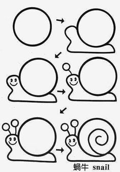Drawings from circles . Talk on LiveInternet - Ro . - drawings ideas - Drawings from circles . Talk on LiveInternet – Ro … - Doodle Drawings, Cartoon Drawings, Animal Drawings, Doodle Art, Cartoon Cartoon, Easy Drawings For Kids, Drawing For Kids, Art For Kids, Drawing Lessons