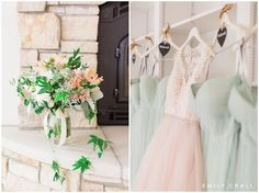 Lake Keomah backyard spring wedding with a blush pink bridal gown and florals, mint green maids dresses, and navy suits. Guests parked across the lake and were brought to the ceremony by boat. The bride and groom were married under a big oak tree by the lake in her childhood backyard.