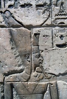 Relief of Pharaoh, Chapels of Divine Adoratrices, Temple of Ramesses III, Medinet Habu, Thebes (Unesco World Heritage List, 1979), Egypt, Egyptian civilization, New Kingdom, Dynasty XX