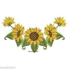 SUNFLOWER CLOTHES LINE - PRETTY - 2 EMBROIDERED HAND TOWELS by Susan