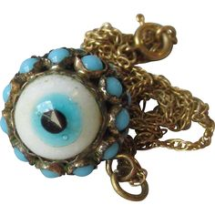 Rare Victorian Glass & Turquoise Double Sided Evil Eye Charm or Pendant Necklace