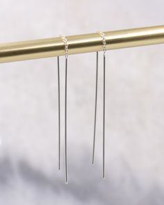Fine Bar Long Threader Earring in sterling silver. Geometric Jewelry, Earring Backs, Rose Gold Plates, Clothes Hanger, Jewellery, Bar, Sterling Silver, Earrings, Coat Hanger
