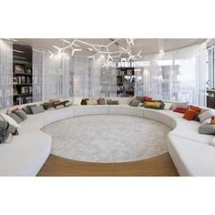Fancy - Office Room Design: Exotic Office Lounge With Chic Round White Sofas And Rug With Plant Shape Chandelier Office Lounge, Office Meeting, Lounge Design, Design Design, Design Ideas, Design Inspiration, Oversized Area Rugs, Google Office, Lounge Areas
