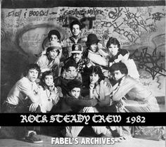 Rock Steady Crew at The Roxy in 1982.  From top to bottom and left to right: Fabel, Take One, Doze, Mr. Freeze, Mr. Wiggles, Afrika Islam, Kuriaki (R.I.P.), Baby Love, Normski, Lady Rock, Frosty Freeze (R.I.P.) and Crazy Legs.  Pop Master Fabel Archives.