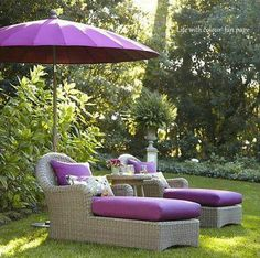outdoor cushions & umbrella in light plum