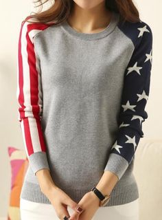 Stylish Jewel Neck Long Sleeve Striped and Star Pattern Women's Sweater