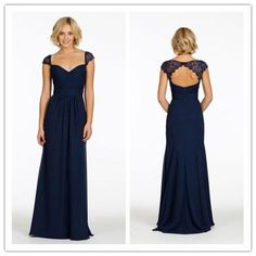 Elegant Long Dark Navy Blue Lace Chiffon Bridesmaid Dresses 2015 New Design Sweetheart Cap Sleeve Wedding Party Gown Maid Of Honor Vestidos Online with $73.3/Piece on Onlyshow's Store | DHgate.com