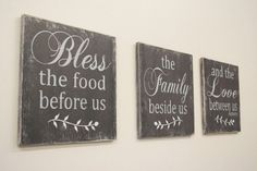Bless The Food Before Us Wood Wall Hanging Dining Room Decor Handmade Wedding Gifts, Handmade Home Decor, Cute Dorm Rooms, Cool Rooms, Kitchen Themes, Kitchen Decor, Design Kitchen, Kitchen Ideas, Bless The Food