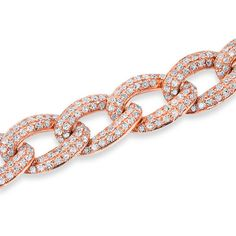 14KT Rose Gold Diamond Chain Link Magnificence Bracelet ($5,870) ❤ liked on Polyvore featuring jewelry, bracelets, red gold jewelry, diamond jewellery, rose gold jewelry, pink gold jewelry and rose gold bangle
