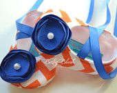 Orange Chevron Soft Ballerina Slippers Baby Booties with Royal Blue Flowers and Ribbon Ties