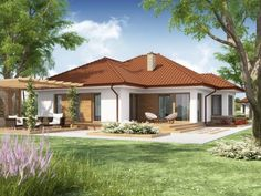 projekt Kasandra 2 Bungalow House Plans, Bungalow House Design, Modern House Plans, Village House Design, Village Houses, Home Building Design, Building A House, One Storey House, Street House