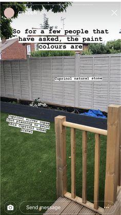 Garden Fence Paint, Garden Painting, Backyard Patio Designs, Patio Ideas, Garden Ideas, Cuprinol Urban Slate, Fence Paint Colours, Garden Living