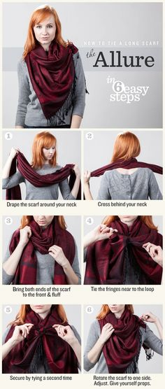 How to Tie a Scarf: The Allure - This tutorial features a great way to show off your favorite patterned scarf this fall!