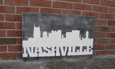 Nashville skyline wood sign Tennnessee sign by steponitart on Etsy Nashville Art, Nashville Skyline, Porch Signs, Custom Art, Wooden Signs, Black Backgrounds, Art Projects, My Etsy Shop, Wall Art