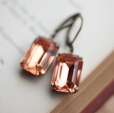 Peach Crystal Vintage Earrings