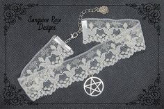 PENTAGRAM IVORY CHOKER Necklace, Ivory Choker, Pagan Choker, Wicca Choker, Witch, Ivory Lace Choker, Handmade, Adjustable, Various Sizes Wicca, Pagan, Silver Roses, Chokers, Ivory, Gemstones, Unique Jewelry, Lace, Handmade