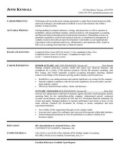 free actuary resume example - Sample Actuary Resume