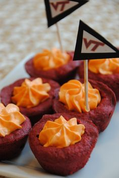 hokie red velvet tartlets