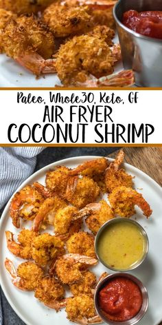 These paleo and air fryer coconut shrimp are a healthy, gluten-free and. - Parties + Entertaining - These paleo and air fryer coconut shrimp are a healthy, gluten-free and keto alternative c - Air Fryer Dinner Recipes, Air Fryer Recipes Easy, Air Fryer Recipes Gluten Free, Air Fryer Recipes Shrimp, Recipes Dinner, Seafood Recipes, Paleo Recipes, Cooking Recipes, Recipes For Airfryer