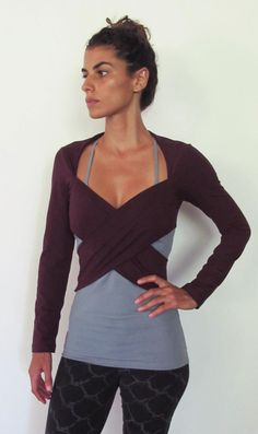Multi tie wrap around bolero top. Yoga clothes - dance wear - fitness. Burgundy…