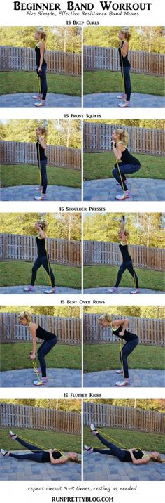 Resistance Band Workout via Run Pretty! Great workout for beginners. Perfect as an at home workout for strength training. Fitness Workouts, Fitness Po, Yoga Fitness, Band Workouts, At Home Workouts, Health Fitness, Quick Workouts, Workout Meals, Post Workout
