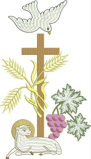 ... Jesus Book, Jesus Art, Première Communion, First Holy Communion, Machine Embroidery Designs, Embroidery Patterns, Christian Backgrounds, Altar Cloth, Christian Symbols