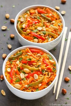 This Thai Curried Vegetable Rice recipe is spicy, satisfying and perfect for busy weeknights! Vegan, gluten-free and ready to eat in 30 minutes.