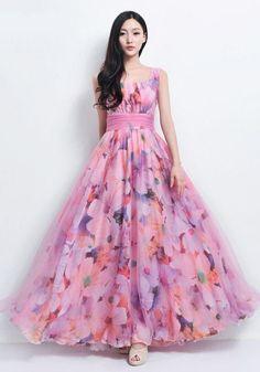 Elegant pink floral a Line swing long dresses. Long Gown Dress, Frock Dress, Chiffon Dress, Tulle Dress, Long Dresses, Swing Dress, Indian Gowns Dresses, Indian Fashion Dresses, Dress Indian Style